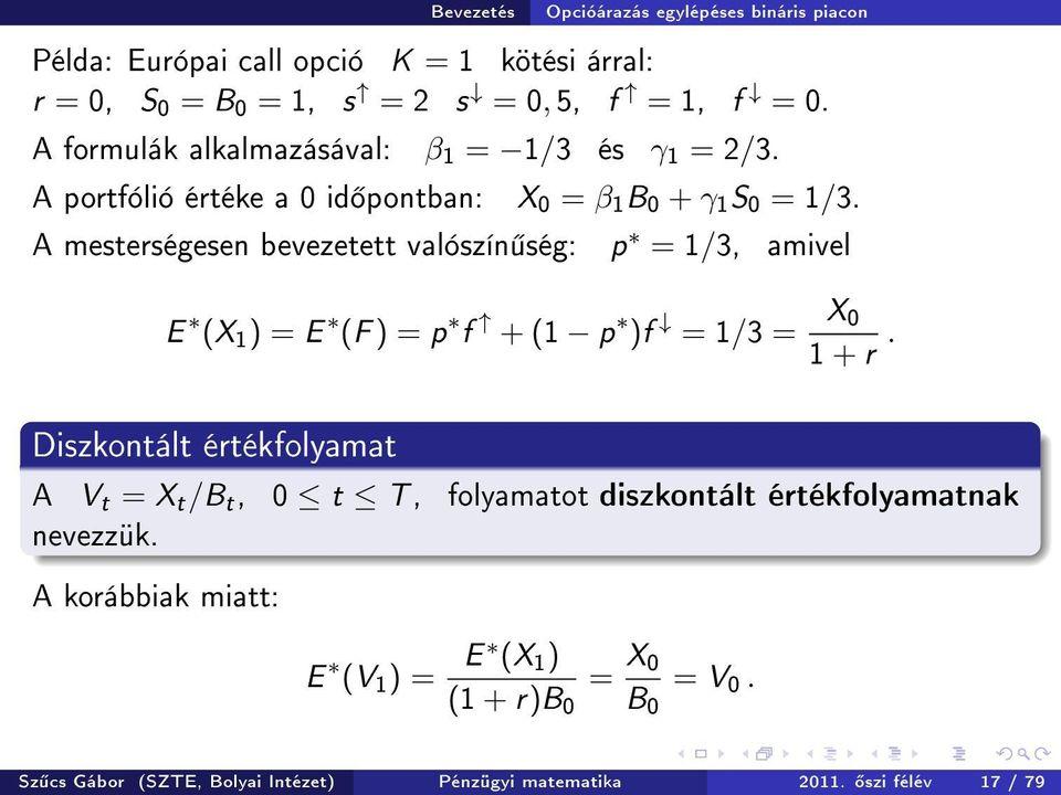 bináris opciók valószínűségelmélete