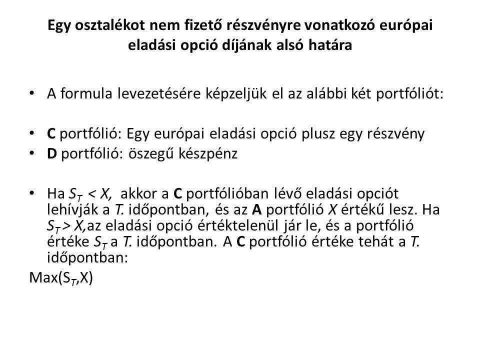 eladási opció prémium formula)